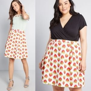 Modcloth Emily & Fin Strawberry Print Skirt NEW